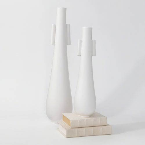 Roger Thomas Matte White Tear Drop Vase with Handles