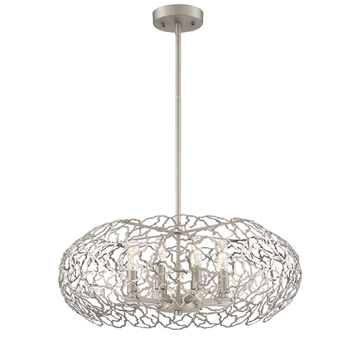 Helios Satin Nickel Eight-Light Chandelier