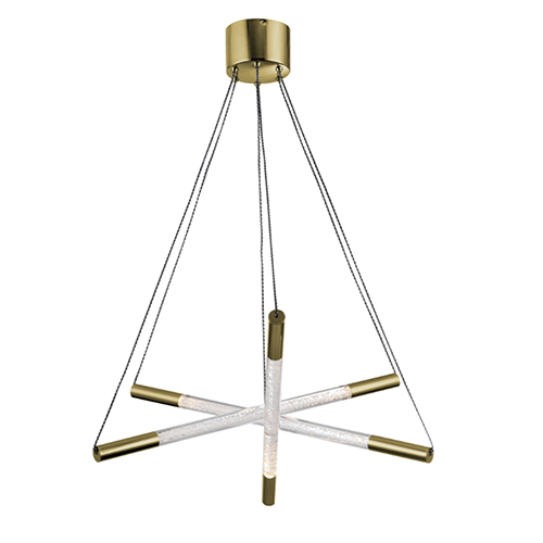 Zeev Lighting Empire Golden Brass with Seeded Acrylic LED Chandelier