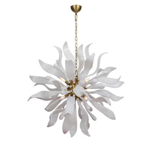 Florence Polished Brass with White Glass 12-Light Chandelier