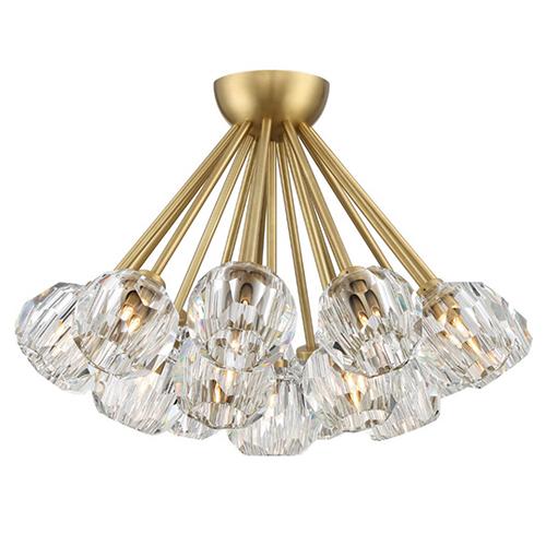 Parisian Aged Brass with Crystal 18-Light Flush Mount