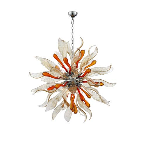 Florence Chrome with Dark Amber 12-Light Pendant
