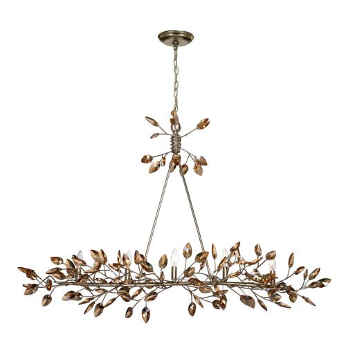 Misthaven Silver Leaf with and Antique Gold Paint and Champagne Crystals 5-Light Chandelier