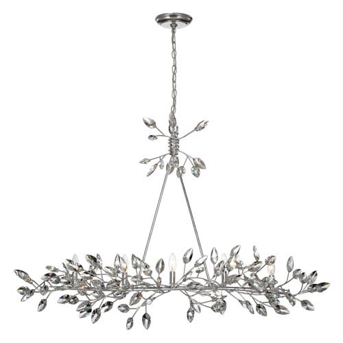 Misthaven Silver Leaf with Clear Crystal 5-Light Chandelier