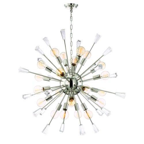 Zeev Lighting Muse Polished Nickel Twenty Four Light Starburst Pendant