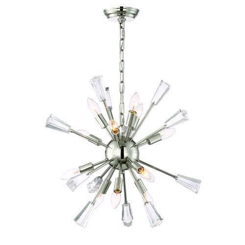 Zeev Lighting Muse Polished Nickel Twelve Light Starburst Pendant