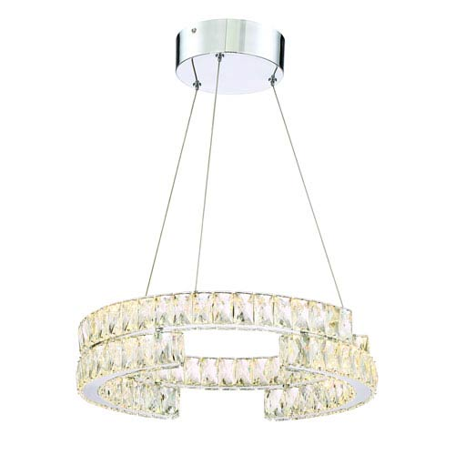 Zeev Lighting Shift Chrome LED Drum Pendant with Crystal