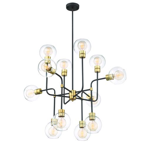 Pierre Polished Brass Twelve Light Chandelier