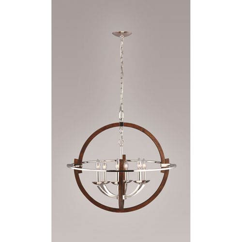 Solstice Polished  Nickel and Painted Wood 27.5-Inch Six-Light Pendant