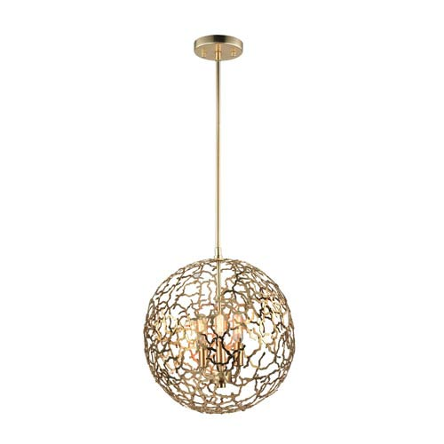 Helios Matte Gold 3-Light 14-Inch Pendant