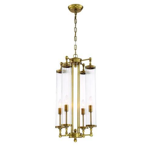 Zeev Lighting Regis Aged Brass Four Light Fourteen Inch Pendant