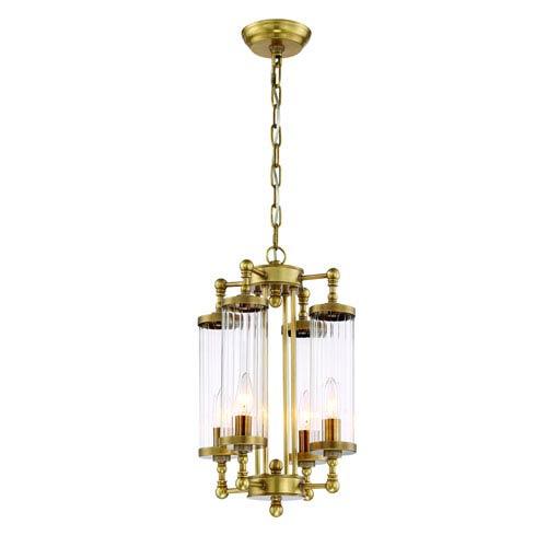 Regis Aged Brass Four Light Twelve Inch Pendant