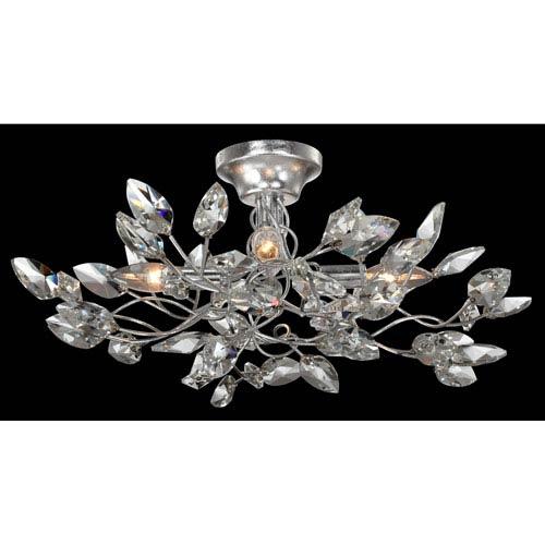 Zeev Lighting Misthaven Silver Leaf with Clear Crystal 4-Light Semi-Flush Mount