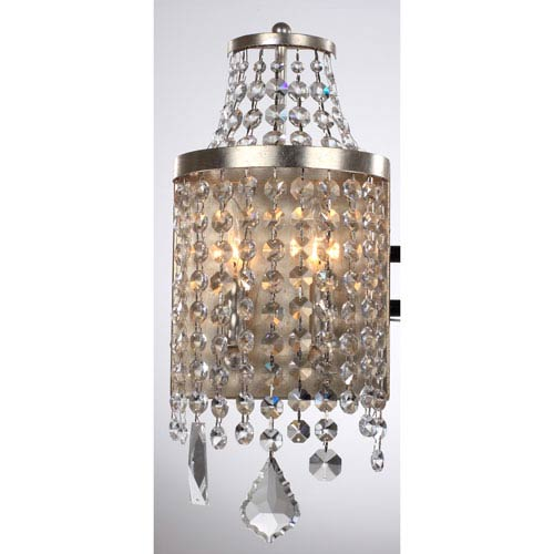 Palais Silver Foil 8-Inch Two-Light Wall Sconce