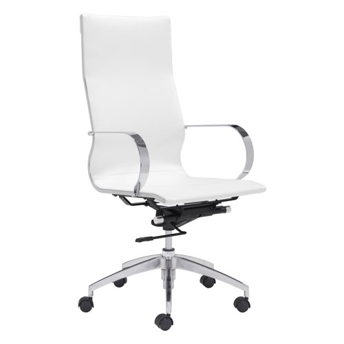 Glider Hi Back Office Chair White