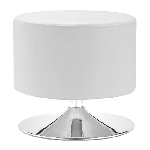 Zuo Modern Contemporary Plump White and Chromed Steel Ottoman