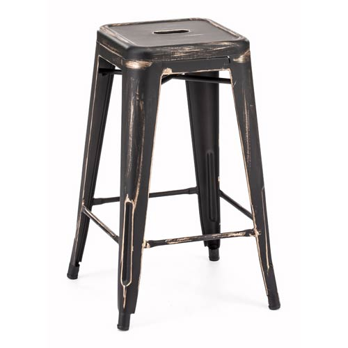 Marius Black and Steel Counter Stool, Set of Two