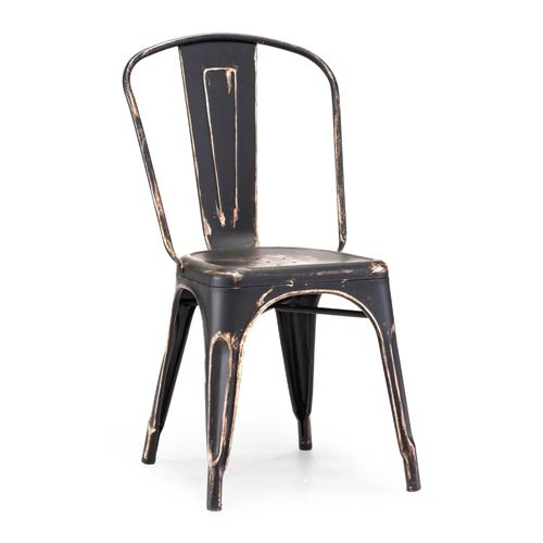 Zuo Modern Contemporary Elio Black and Steel Side Chair