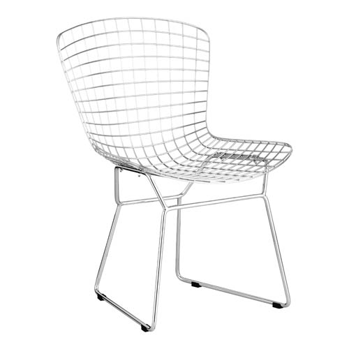 Wire Chrome and Stainless Steel Dining Chair