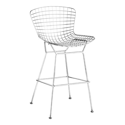 Wire Chrome and Stainless Steel Bar Chair