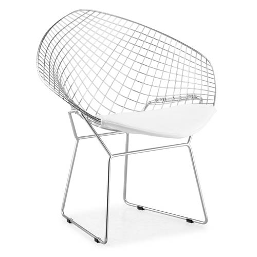 Zuo Modern Contemporary Net White and Chormed Solid Steel Dining Chair