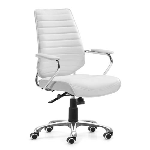 Zuo Modern Contemporary Enterprise White and Chromed Steel Low Back Office Chair
