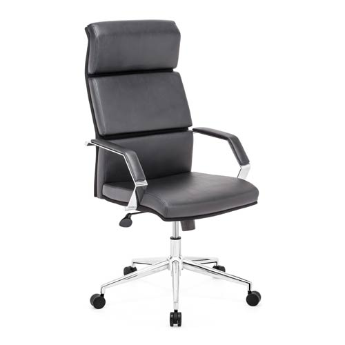 Zuo Modern Contemporary Lider Pro Black and Chromed Steel Office Chair