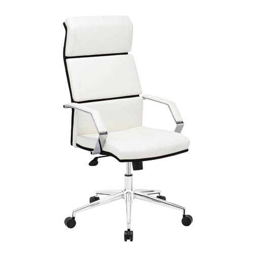Zuo Modern Contemporary Lider Pro White and Chromed Steel Office Chair