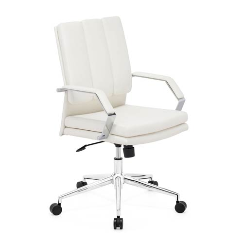 Zuo Modern Contemporary Director Pro White and Chromed Steel Office Chair
