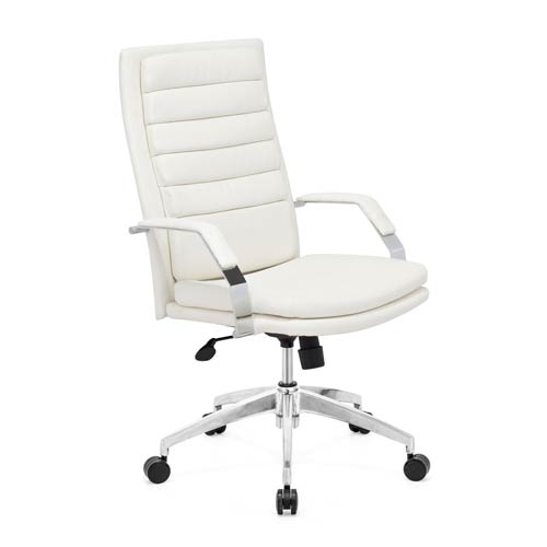 Director Comfort White and Chromed Steel Office Chair