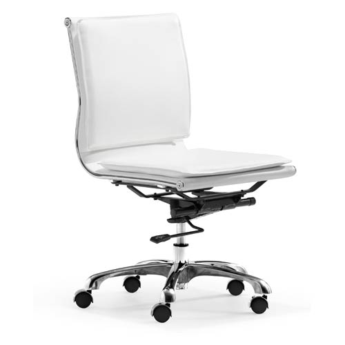 Zuo Modern Contemporary Lider Plus White And Chromed Steel Armless Office Chair