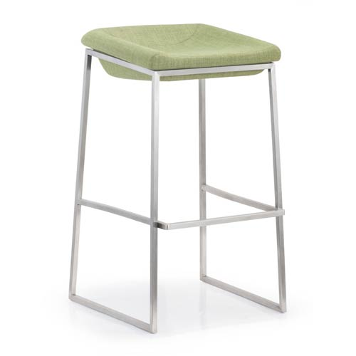 Zuo Modern Contemporary Lids Green and Brushed Stainless Steel Bar Chair