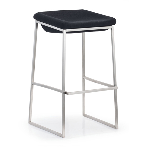Zuo Modern Contemporary Lids Gray and Brushed Stainless Steel Bar Chair