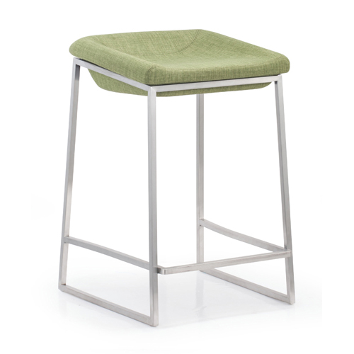 Lids Green and Brushed Stainless Steel Counter Chair, Set of Two