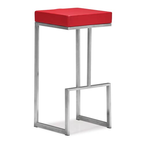 Zuo Modern Contemporary Darwen Red and Brushed Stainless Steel Bar Chair