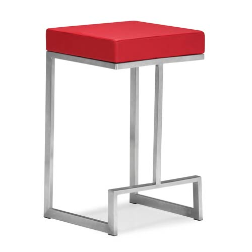 Zuo Modern Contemporary Darwen Red and Brushed Stainless Steel Counter Chair