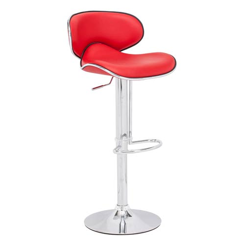 Zuo Modern Contemporary Fly Red and Chromed Steel Adjustable Bar Stool