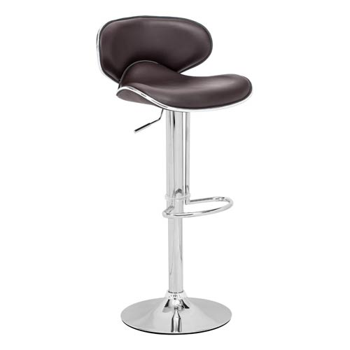 Zuo Modern Contemporary Fly Espresso and Chromed Steel Adjustable Bar Stool