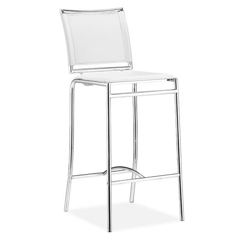Soar White and Chromed Steel Bar Chair