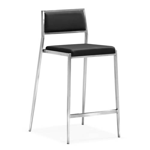 Dolemite Black and Brushed Stainless Steel Counter Chair
