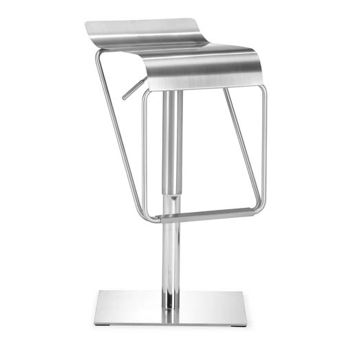 Zuo Modern Contemporary Dazzer Brushed Stainless Steel Adjustable Bar Stool