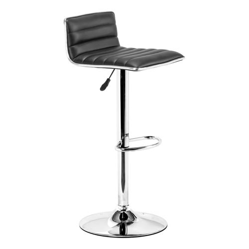 Equation Black and Chromed Steel Adjustable Bar Stool