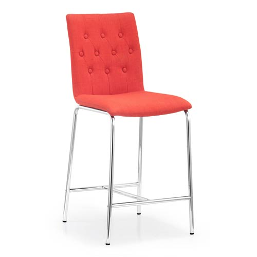 Uppsala Red and Chromed Steel Counter Chair