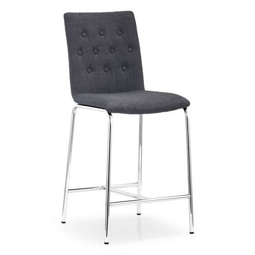 Uppsala Gray and Chromed Steel Counter Chair