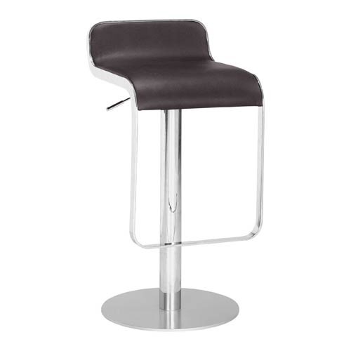 Zuo Modern Contemporary Equino Espresso, Chromed and Painted Steel Adjustable Bar Stool
