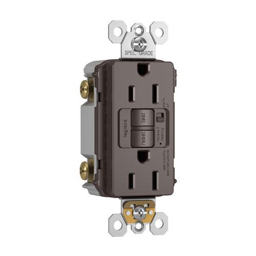 Brown Audible Alarm Tamper-Resistant 15A Self-Test Duplex GFCI