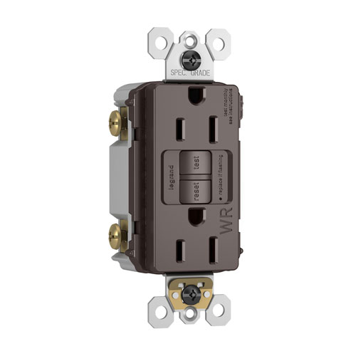 Brown Spec-Grade Weather-Resistant 15A Self-Test Duplex GFCI