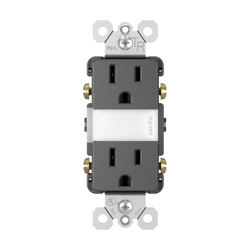 Black Night Light with Two 15A Tamper-Resistant Outlets