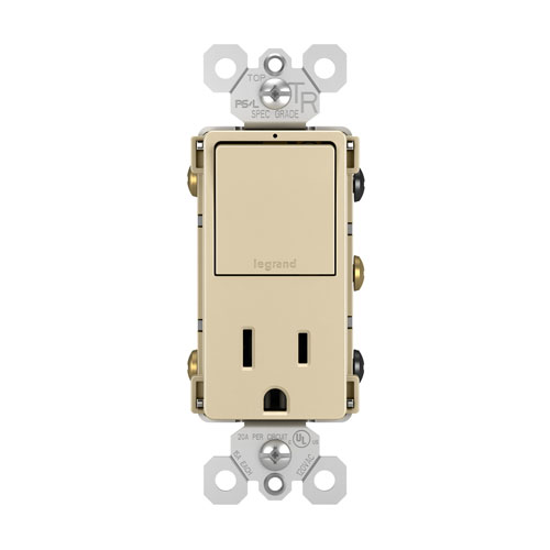 Ivory Single Pole 3-Way Switch and 15A Tamper-Resistant Outlet