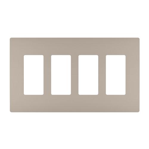 Nickel Screwless 4-Gang Wall Plate